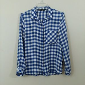 Zara Blue and White Plaid Button up Blouse